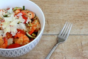 Bowl of Shrimp and Zucchini Noodles