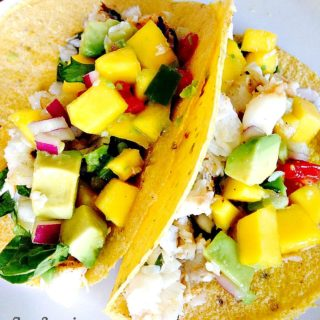 Fish Tacos with Avocado Mango Salsa {21 Day Fix}