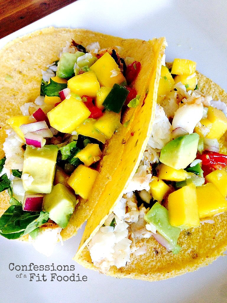 Fish tacos with avocado mango salsa 21 day fix for Salsa for fish tacos
