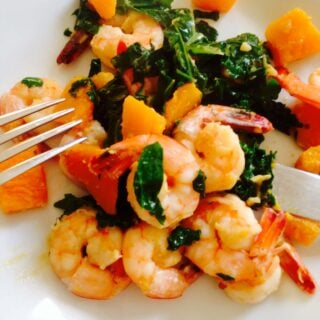 Easy Shrimp, Kale, and Butternut Squash Saute - a 21 Day Fix dinner recipe from ConfessionsOfAFitFoodie.com