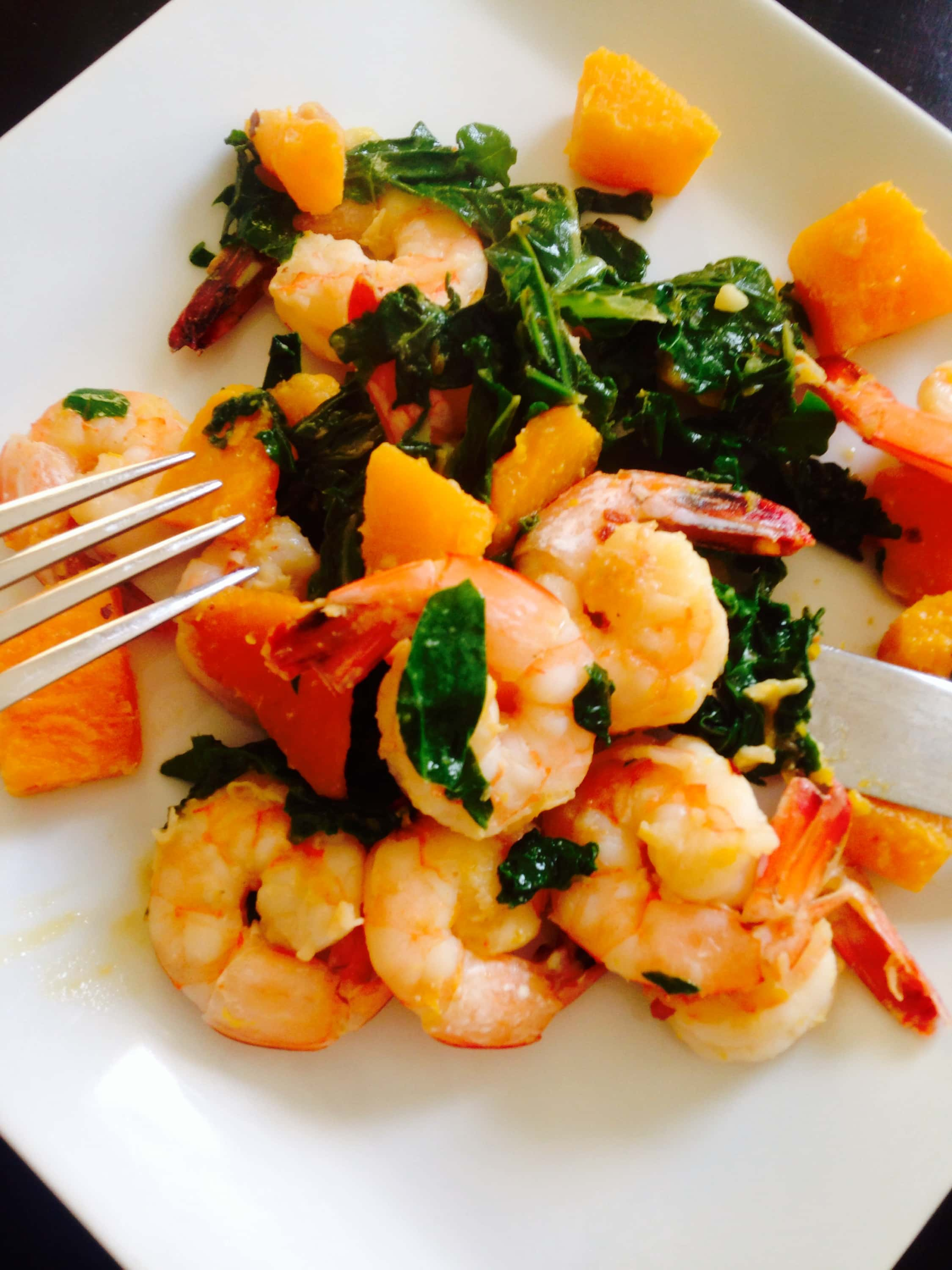 Easy Shrimp, Kale, and Butternut Squash Saute