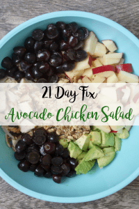 21 Day Fix Avocado Chicken Salad   Confessions of a Fit Foodie This AvocadoChicken Salad is a quick and easy, clean and healthy, 21 Day Fix approved meal. No mayo is in this salad, just avocado, walnuts, grapes, and apples.