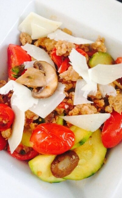 Spicy Sausage with Veggies - a 21 Day Fix dinner recipe from Confessions of a Fit Foodie