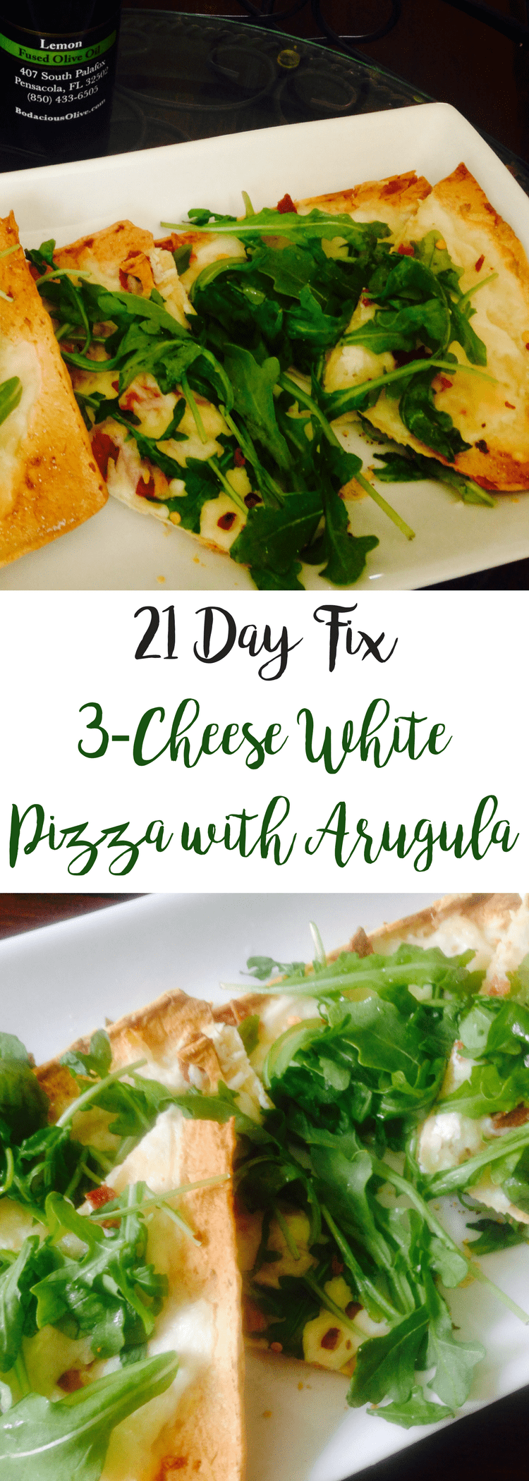 3-Cheese White Pizza with Arugula {21 Day Fix} | Confessions of a Fit Foodie