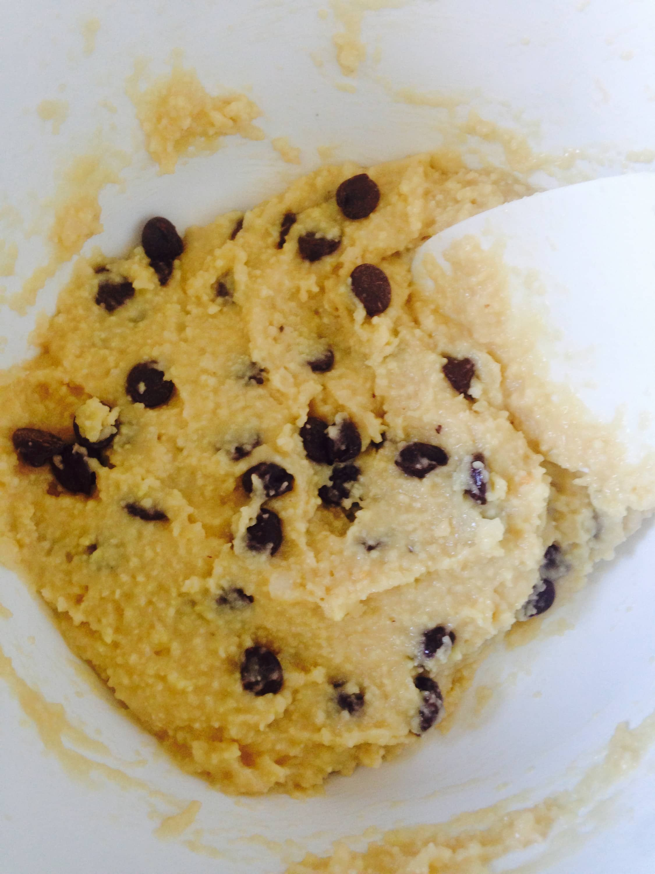 Unbaked dough for FIXATE Gluten Free Chocolate Chip Cookies - A 21 Day Fix approved treat recipe | ConfessionsOfAFitFoodie.com