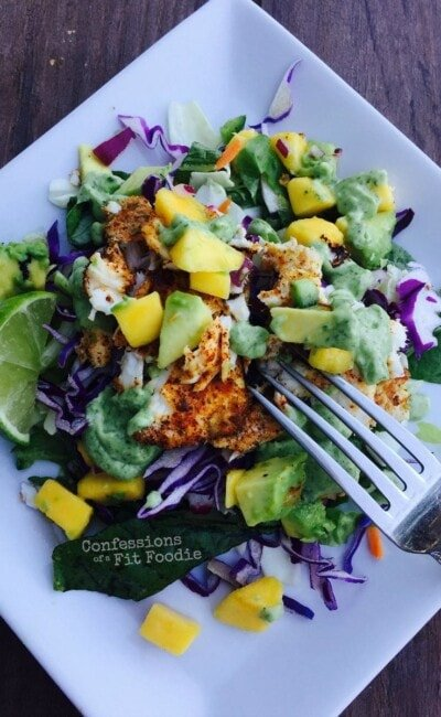 Deconstructed fish tacos are the healthy, 21 Day Fix way to go across the border and enjoy a delicious dinner. Recipe on Confessions of a Fit Foodie