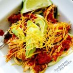 Crock Pot Salsa Lime Chicken over Zoodles - A 21 Day Fix recipe, from Confessions of a Fit Foodie