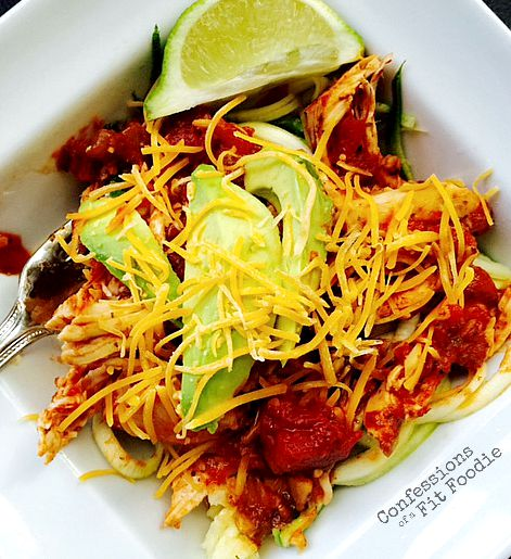 Crock Pot Salsa Lime Chicken over zoodles