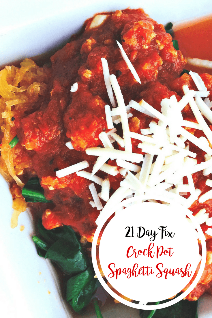 21 Day Fix Crock Pot Spaghetti Squash with Meat Sauce | Confessions of a Fit Foodie