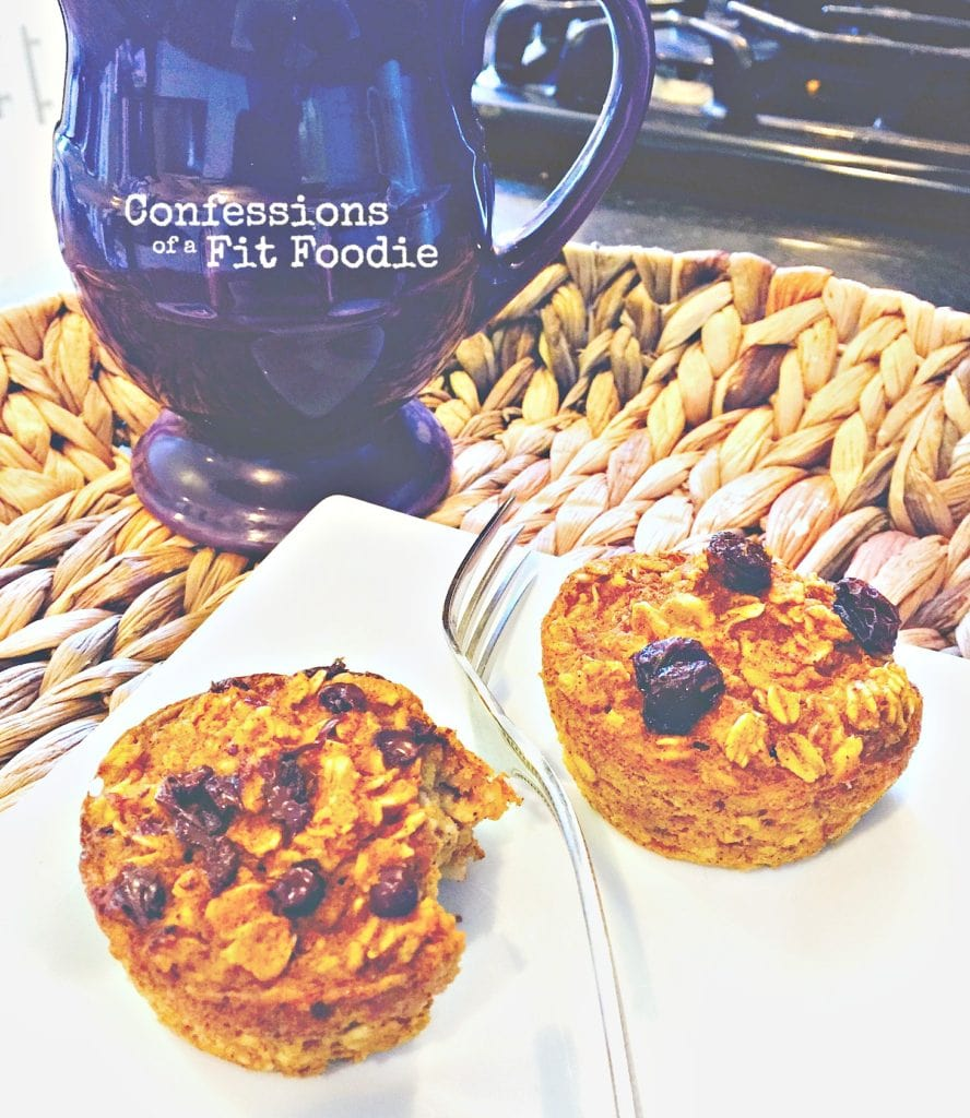 21 Day Fix Approved Recipe for Baked Oatmeal Muffins, from Confessions of a Fit Foodie