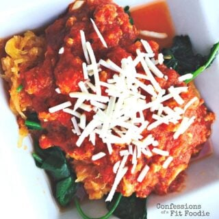 21 Day Fix dinner: Simple Slow Cooker Spaghetti Squash with Meat Sauce
