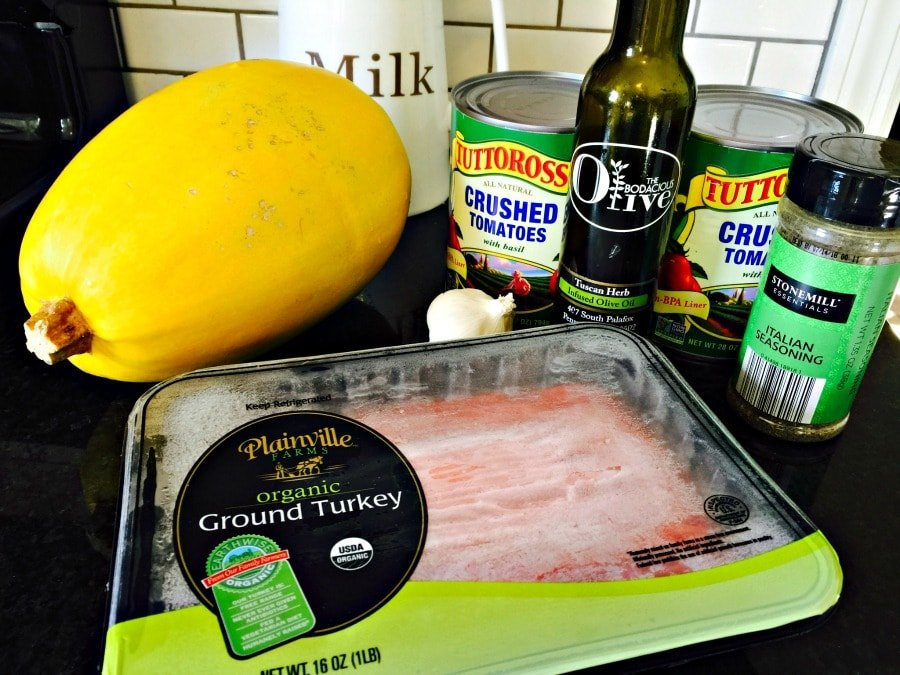 ingredients needed to make a simple Crock Pot Spaghetti Squash with Meat Sauce