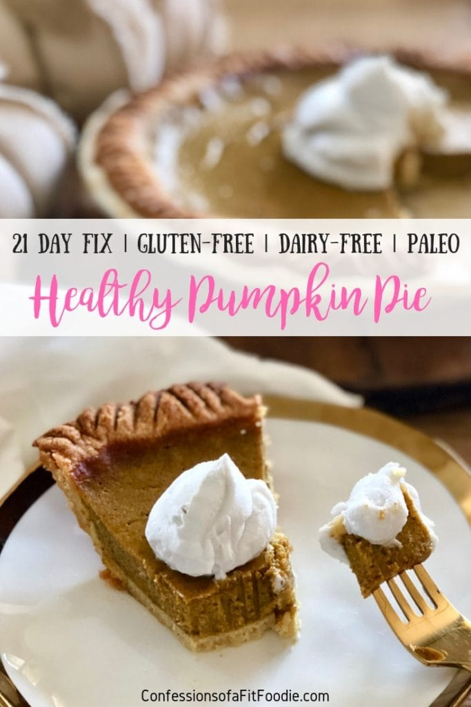 This 21 Day Fix Pumpkin Pie isn't just a healthy holiday dessert, it is also a delicious holiday dessert!  It's also gluten, dairy, and refined sugar free, but you would never know - it's THAT good!  Healthy Pumpkin Pie | 21 Day Fix Pumpkin Pie | Gluten-Free Pumpkin Pie | Paleo Pumpkin Pie | Grain Free Pumpkin Pie | 21 Day Fix Thanksgiving #21dayfixpumpkinpie #healthypumpkinpie #confessionsofafitfoodie