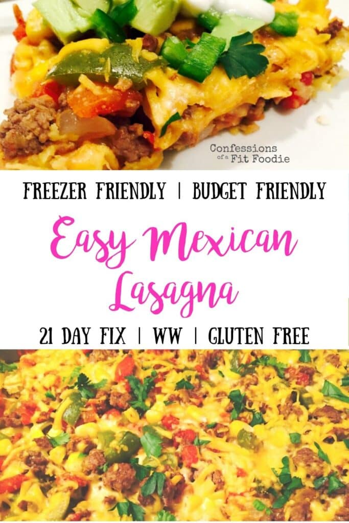 Image of Easy Mexican Lasagna with text overlay for Pinterest