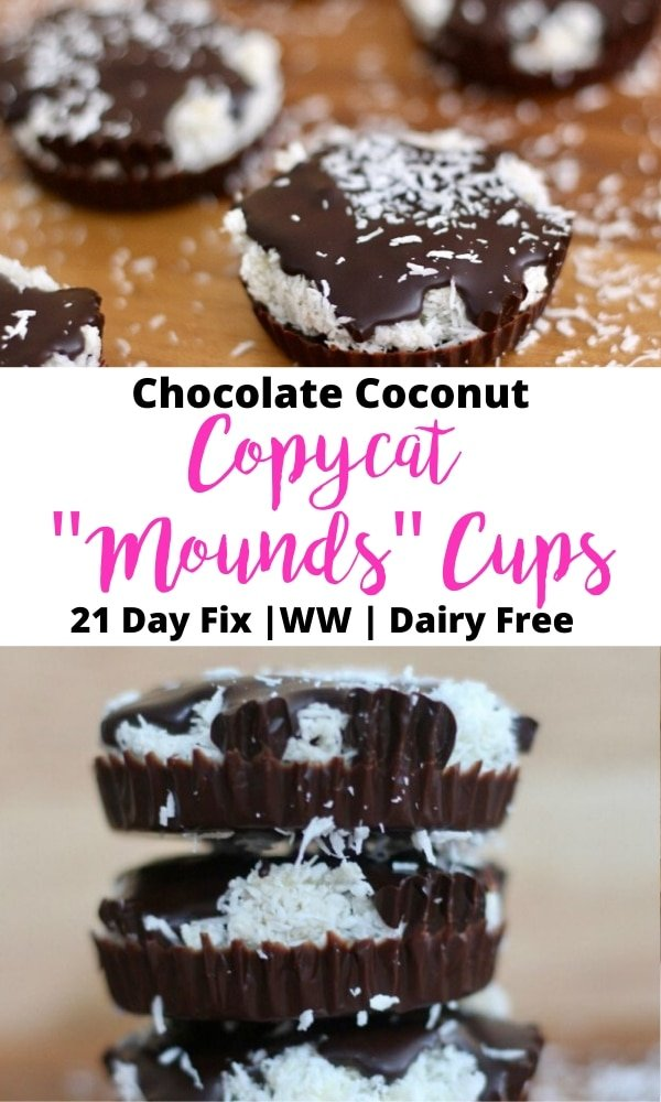 "Photo collage with text overlay- Chocolate Coconut Copycat ""Mounds"" Cups 