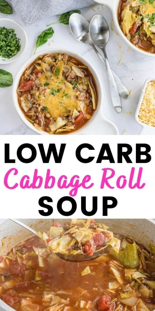Photo Collage with text overlay Low Carb Cabbage Roll Soup