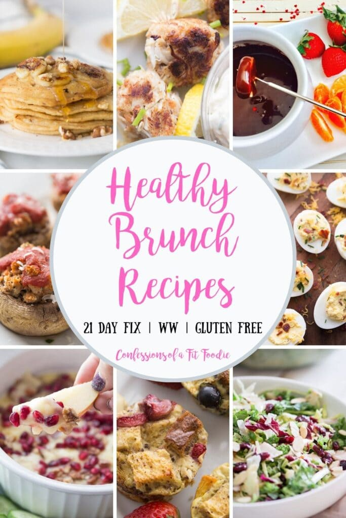 Food photo collage with pink and black text | Healthy Brunch Recipes