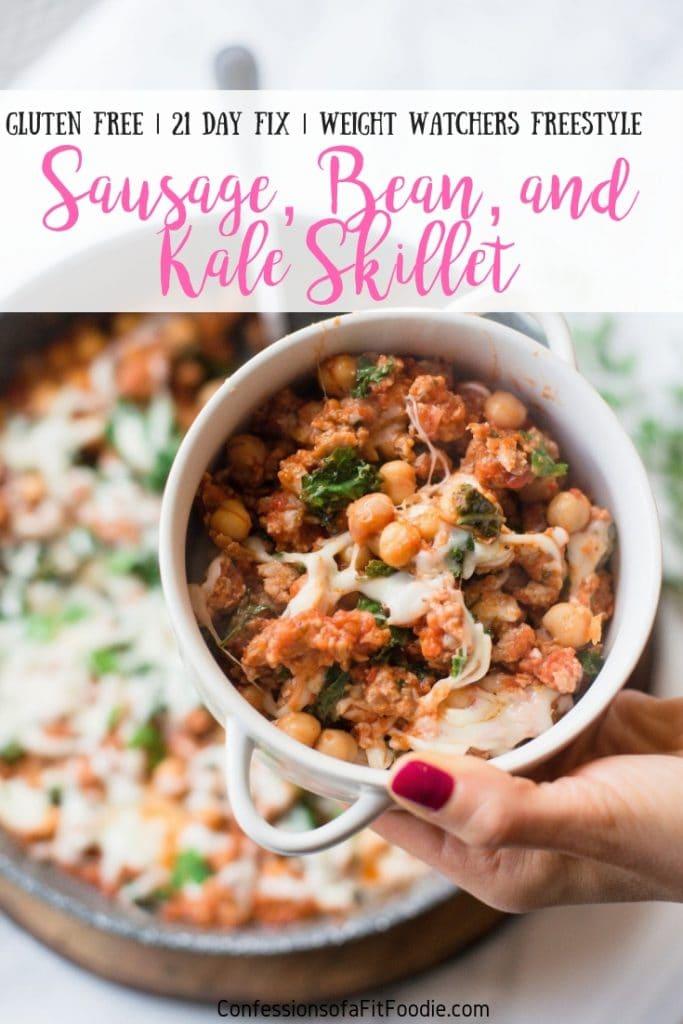 This Healthy Sausage, Bean, and Kale Skillet is so incredibly simple, you can have dinner on the table in WAY less than 30 minutes- and with only one pan to wash!  It's Gluten free, 21 Day Fix Approved, and also perfect for Weight Watchers. If kale isn't your thing, this can easily be made with spinach! #confessionsofafitfoodie #ultimateportionfix #21dayfixrecipes