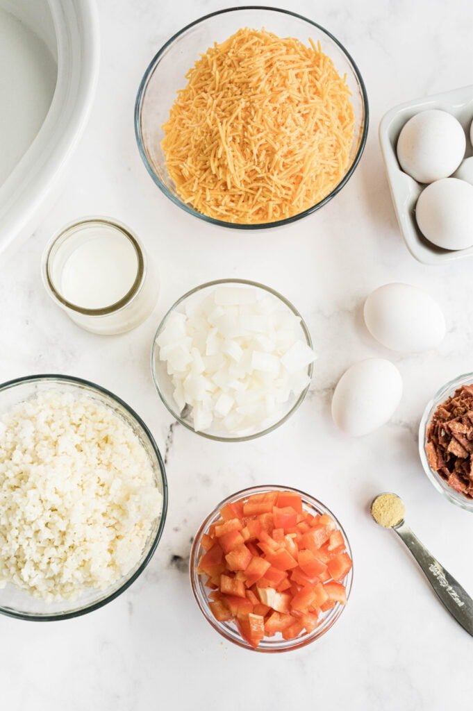 all the ingredients needed for low carb egg casserole