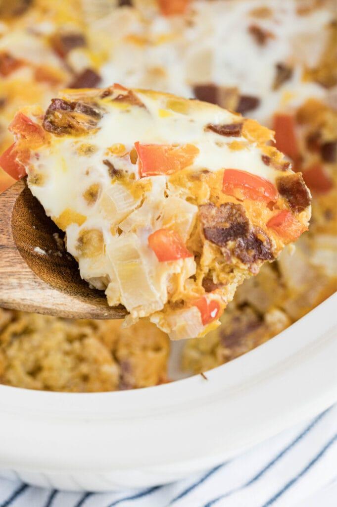 A close up shot of breakfast casserole