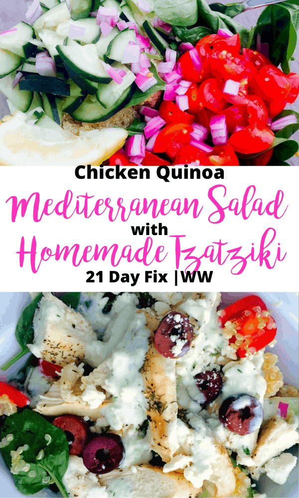 Pinterest collage with text overlay for Chicken Quinoa Mediterranean Salad with Tzatziki Dressing
