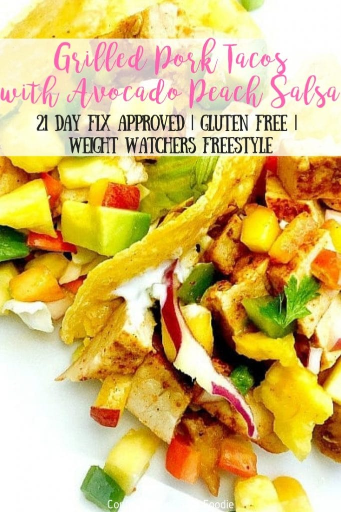 These 21 Day Fix Grilled Pork Tacos bring together perfect summertime flavors with fresh, homemade avocado peach salsa! Chop and mix the salsa then fire up the grill to have dinner ready in no time!