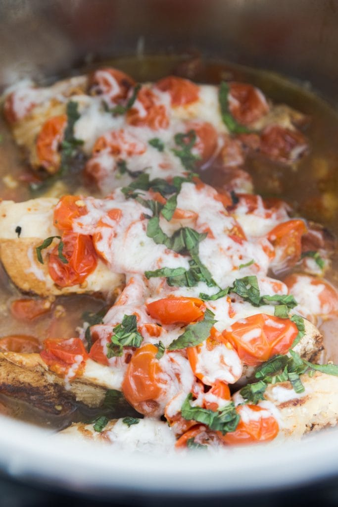 Chicken, Mozzarella, and Basil in Instant Pot