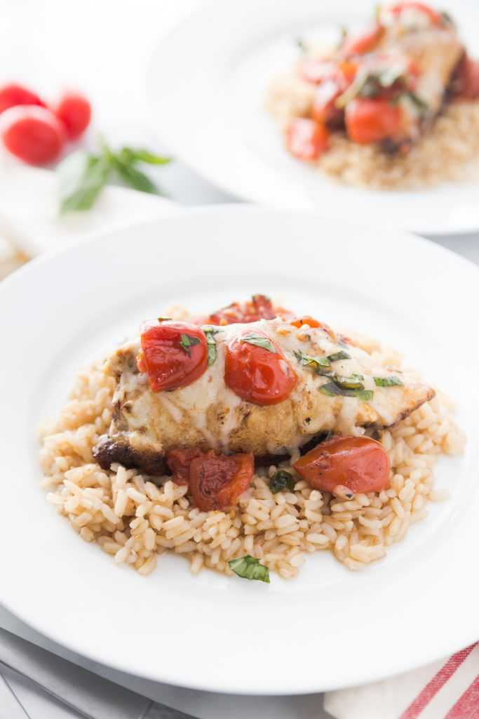 21 Day Fix Caprese Chicken with melty mozzarella