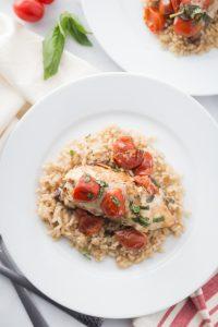 Overhead Shot of Caprese Chicken over Brown Rice