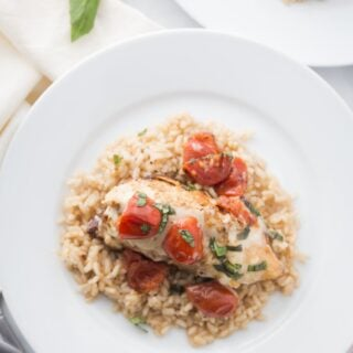 Overhead Shot of Caprese Chicken over Brown Rice