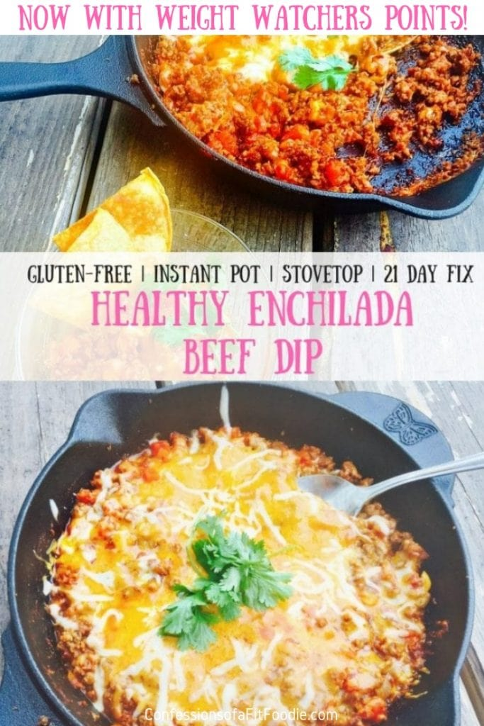 This 21 Day Fix | Weight Watchers Enchilada Beef Dip is the perfect appetizer or dinner!  It's super easy to make on your stove top or in your Instant Pot and it's delicious with homemade chips, mini bell peppers, or even in a corn tortilla! #confessionsofafitfoodie #ultimateportionfix #21df #weightwatchers