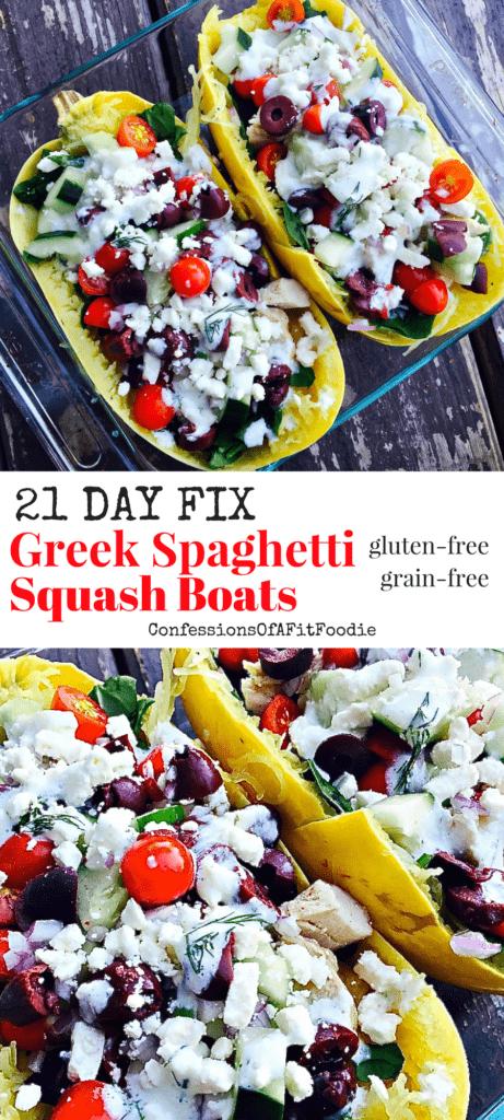 21 Day Fix Greek Spaghetti Squash Boats