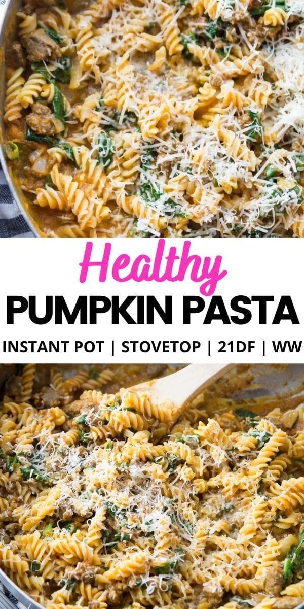 Pinterest Image Healthy Pumpkin Pasta