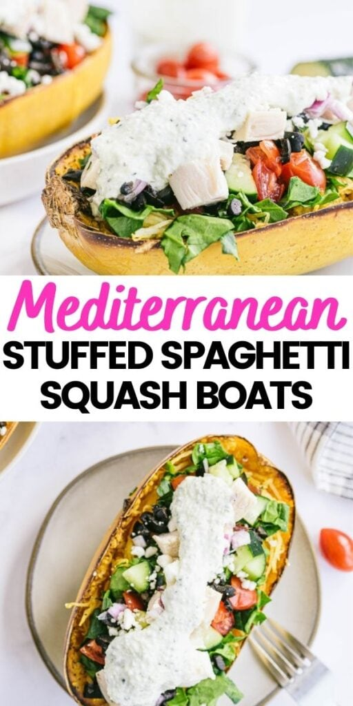 Two photo collage with black and pink text: Mediterranean Stuffed Spaghetti Squash Boats.
