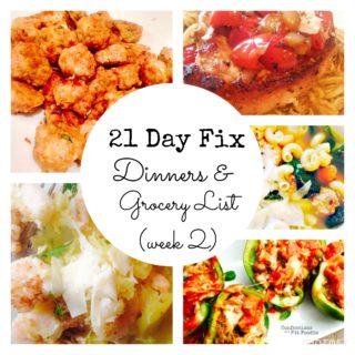 Dinner Plan and Grocery List (week 2)