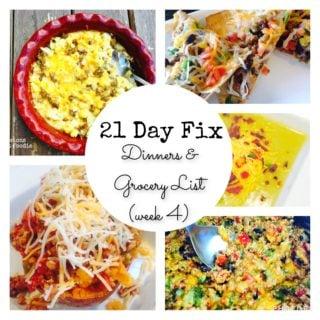 Dinner Plan & Grocery List (week 4)