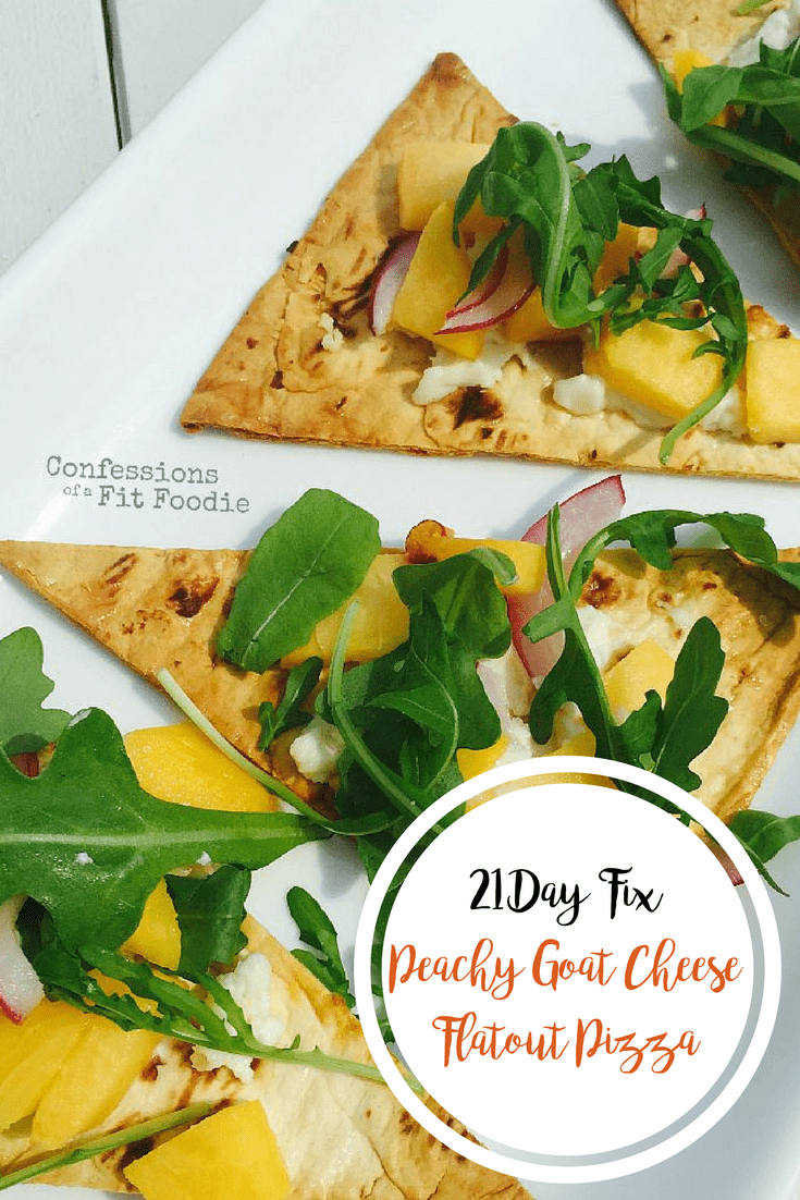 Peachy Goat Cheese Flatout Pizza {21 Day Fix} | Healthy Helper @Healthy_Helper