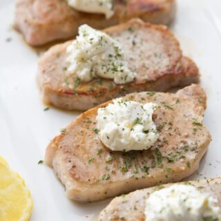 21 Day Fix Pork Chops with Goat Cheese Butter