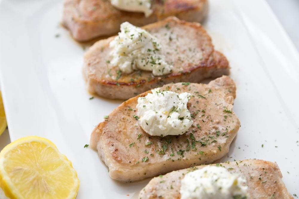 21 Day Fix Pork Chops with Goat Cheese Butter | Confessions of a Fit Foodie