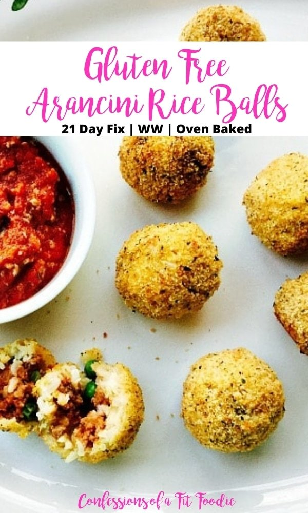 Close up of mini rice balls on a large platter with black and pink text on a white rectangle.  Text says, Gluten Free Arancini Rice Balls | 21 Day Fix | WW | Oven Baked | Confessions of a Fit Foodie