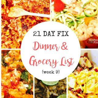 Dinner Plan & Grocery List (week 9)