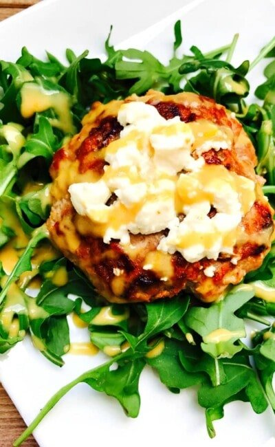 Simple and Delicious 21 Day Fix approved Turkey Burger with Warm Goat Cheese and a Citrus Maple Dijon Dressing! Delish!