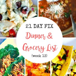 Make meal planning a breeze with this 21 Day Fix Dinner plan and grocery list! Simple, easy to follow recipes that are healthy and delicious!