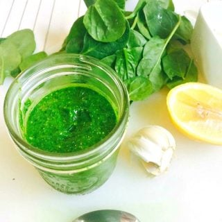 A simple and delicious twist on Pesto using Spinach in place of Basil as the main green - perfect for 21 Day Fixers who have trouble getting in their veggies!