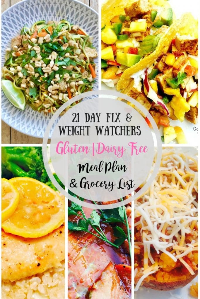 This 21 Day Fix Meal Plan includes some of our favorite gluten and dairy free meals! Weight Watchers Freestyle Points included, too!