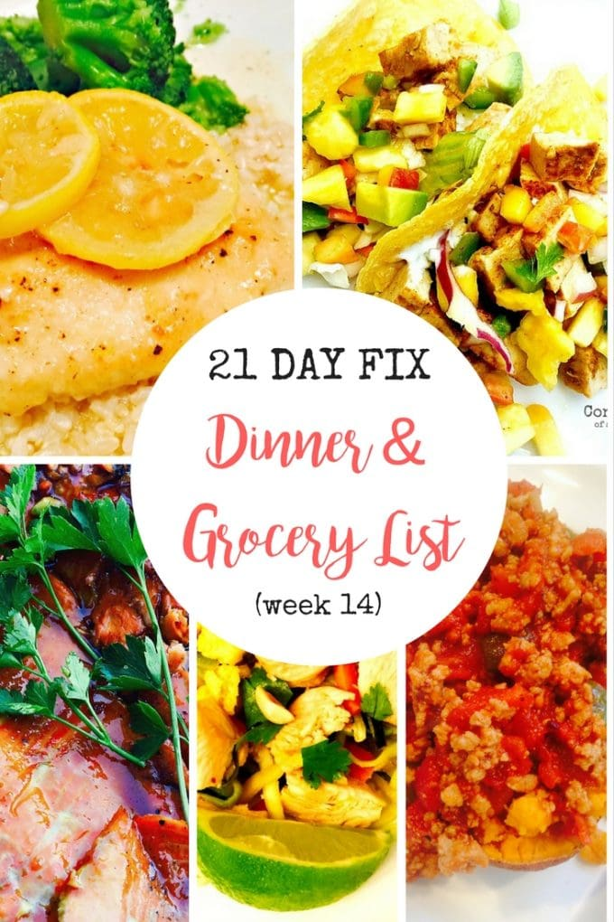 Make Dinner Planning for the 21 Day Fix Simple and Easy with this meal plan and grocery list!