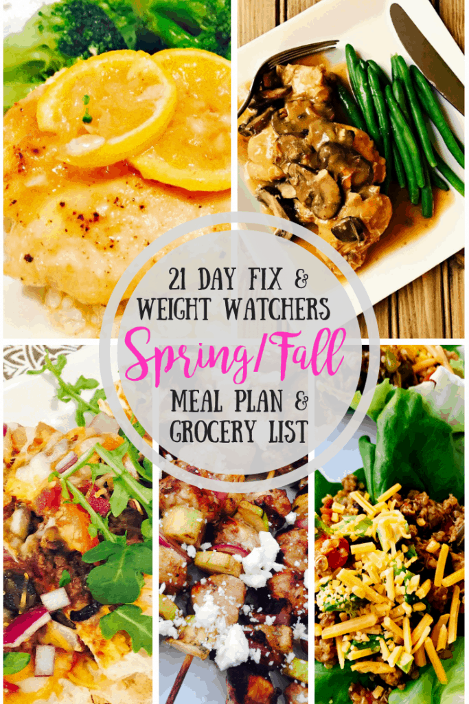 Baked Lemon Chicken, Chicken Marsala, Bacon Cheeseburger Pizza, Chicken and Zucchini Balsamic Skewers, and Turkey Quinoa Bake photo collage with text overlay- 21 Day Fix & Weight Watchers Spring/Fall Meal Plan & Grocery List