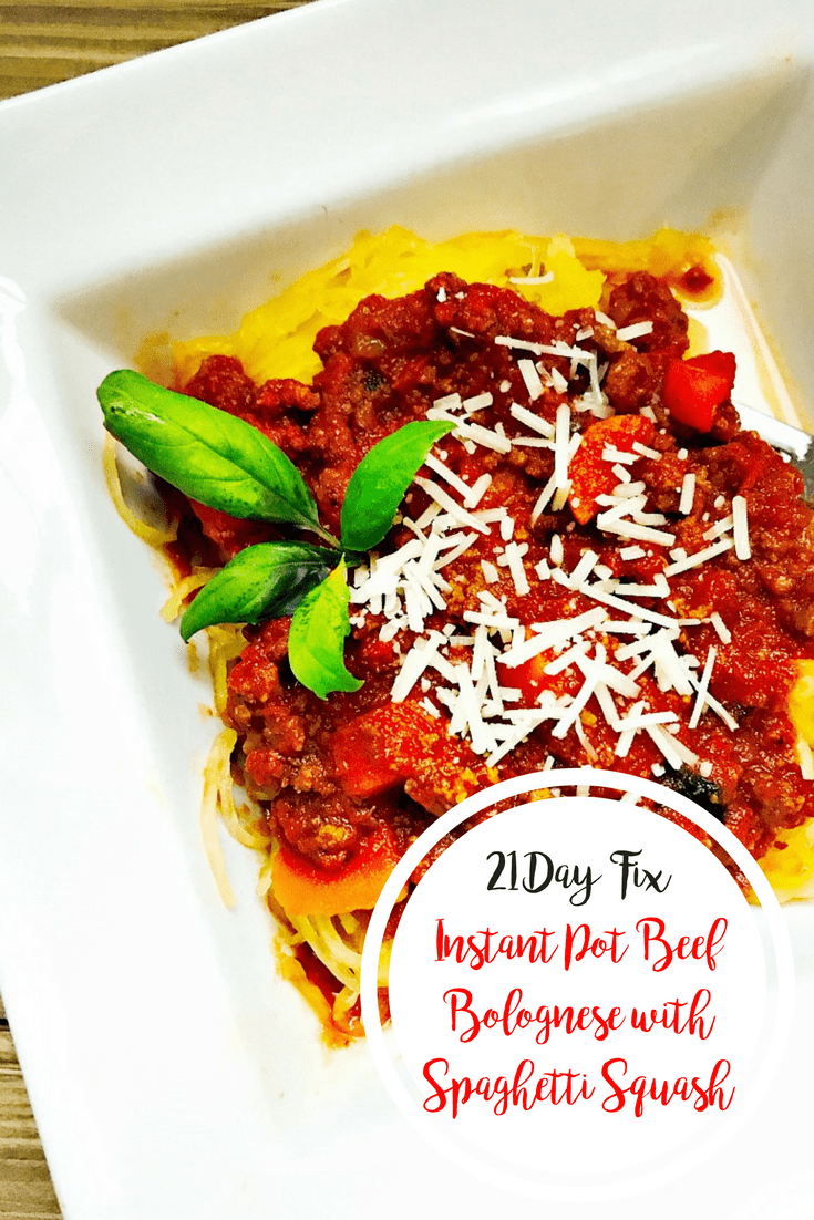 21 Day Fix Instant Pot Beef Bolognese with Spaghetti Squash | Confessions of a Fit Foodie