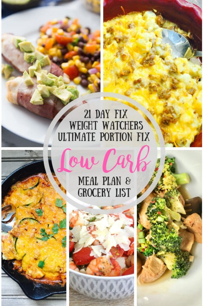 Picture collage featuring bacon wrapped chicken tenders, cauliflower mac, chicken and broccoli, shrimp and zoodles, and lazy zucchini enchilada skillet- with the text overlay 21 Day Fix, Weight Watchers, Ultimate Portion Fix Low Carb Meal Plan & Grocery List