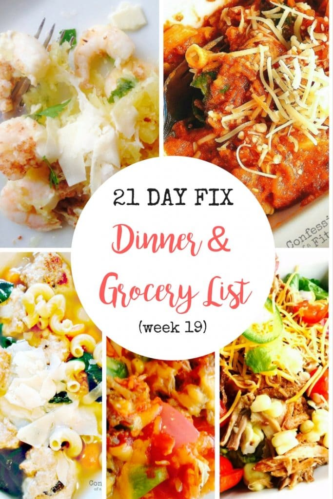21 Day Fix Dinner Plan with Grocery List